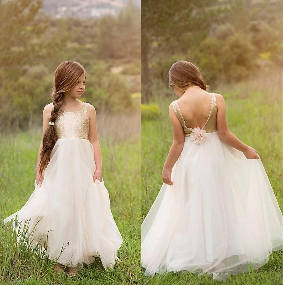 Gold Sequins 2018 Junior Bridesmaids Dresses For Kids Flower Girl Dress With Ivory Tulle Floor Length Wedding Girls Christmas Dresses Cheap