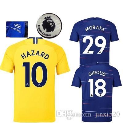 Compre 18 19 HAZARD MORATA KANTE GIROUD Camisa De Futebol 2018 2019 Home  PEDRO DAVID LUIZ WILLIAN FALCÃO BATSHUAYI AZPILICUETA Camisas De Futebol ... 79ff39f03f8
