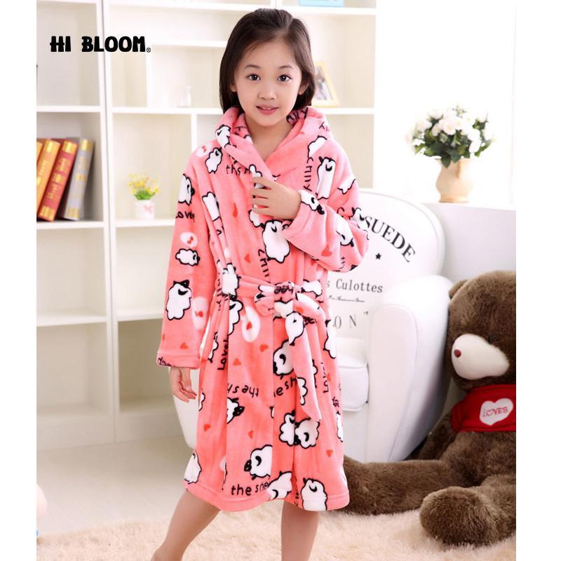 e61ee655655e Brand Flannel Children S Bathrobe Kids Winter Pink Home Wear Soft Pajamas  Girl Cartoon Sheep Peignoir Enfant Gown Hooded Robes Y18103008 Child  Christmas ...
