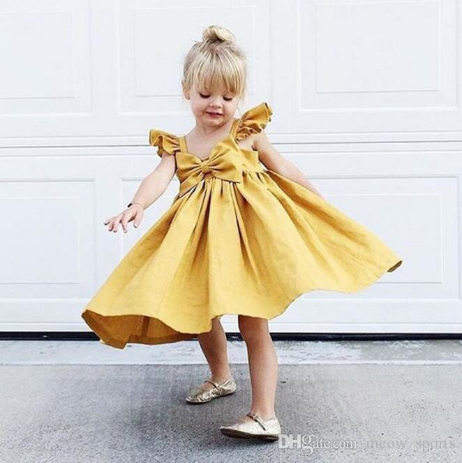 Newborn Kids Baby Girls Ruffle Flying Sleeves Bow Dresses Princess Clothes  Outfits Summer Girl Dress Clothing UK 2019 From Meow sports 78d48d6548