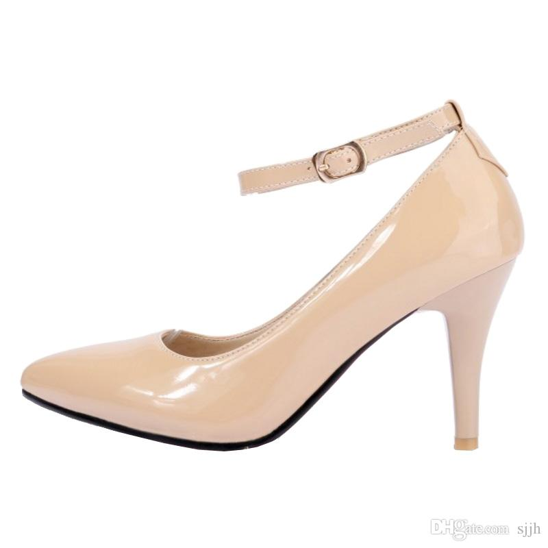 SJJH 2018 Patent Leather Pumps with Pointed Toe and Stiletto Heel Elegant Working Shoes for Fashion Women with Large Size Available A119