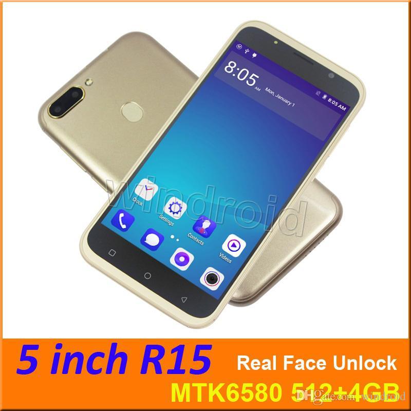 R15 5 Android 6 0 Quad Core 3G Smartphone WCDMA Unlocked GPS MTK6580 4GB  Dual SIM Wifi 960*540 Screen Mobile phone real face unlock 30pcs