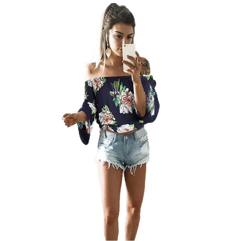 c668da754 Women Sexy Off Shoulder Flower Print Shirt Fashion Flare Sleeves Cropped  Beach Shirt Casual Rustic Crop Top Boho Tee New Original T Shirts T Shirts  With ...