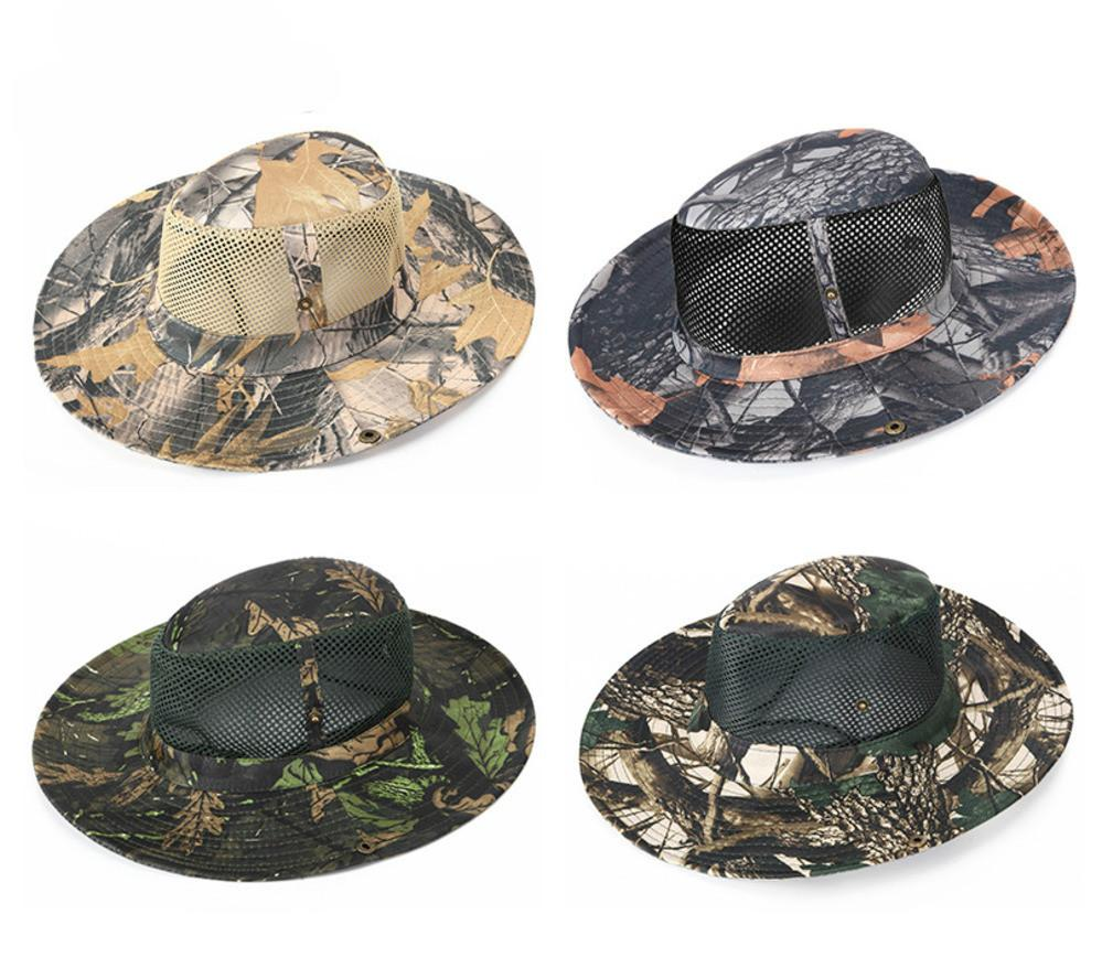 38ac1418f0b Camouflage Army Style Fishing Cap Bucket Hat Fisherman Camo Ripstop Jungle  Bush Hats Boonie Wide Brim Sun Caps UK 2019 From Aanyfeige