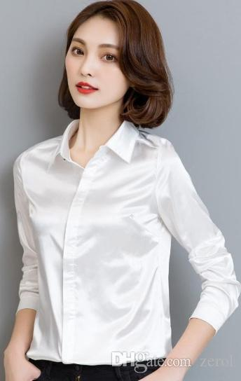 16f62adfeededc 2019 2018 Spring And Autumn Women Simulate Silk Satin Shirt Long Sleeve  Business Formal Shiny Blouse Tops Elegant Performance Wear Fashion From  Zerol, ...