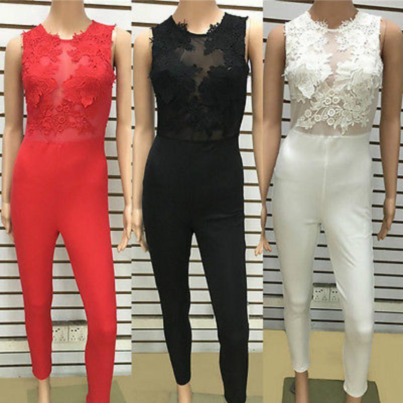 Seksi Moda Kadınlar Kolsuz Bandaj Bodycon Tulum Dantel Romper Pantolon Akşam Clubwear Kırmızı