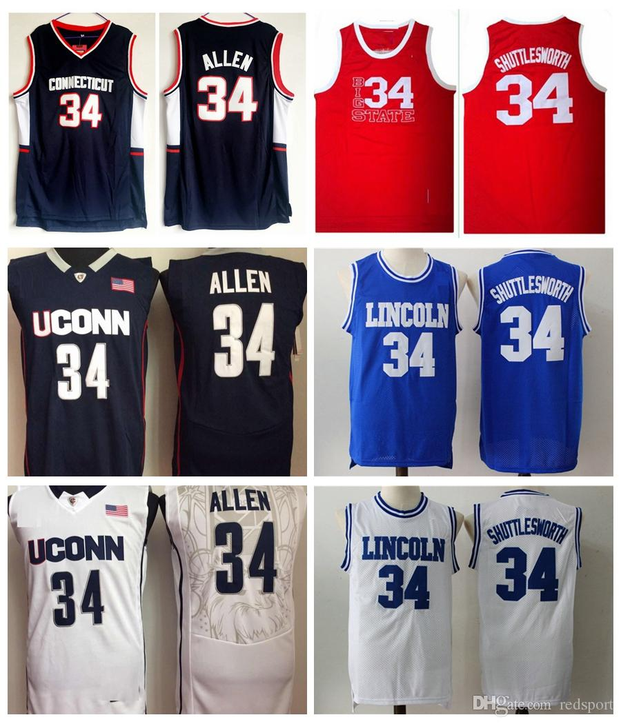 d4d44b2edd7e 2019 He Got Game  34 Jesus Shuttlesworth Lincoln High School Ray Allen  Basketball Jerseys Ray Allen Connecticut Huskies College Shirts Cheap From  Redsport
