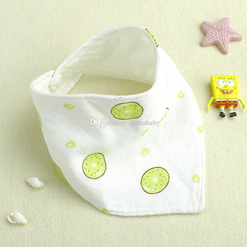 Wholesale Baby Snap Button Triangle Towel, Six Layers Gauze Bib Cotton Cotton Scarf, Concealed Buckle Pocket Newborn Child Bib