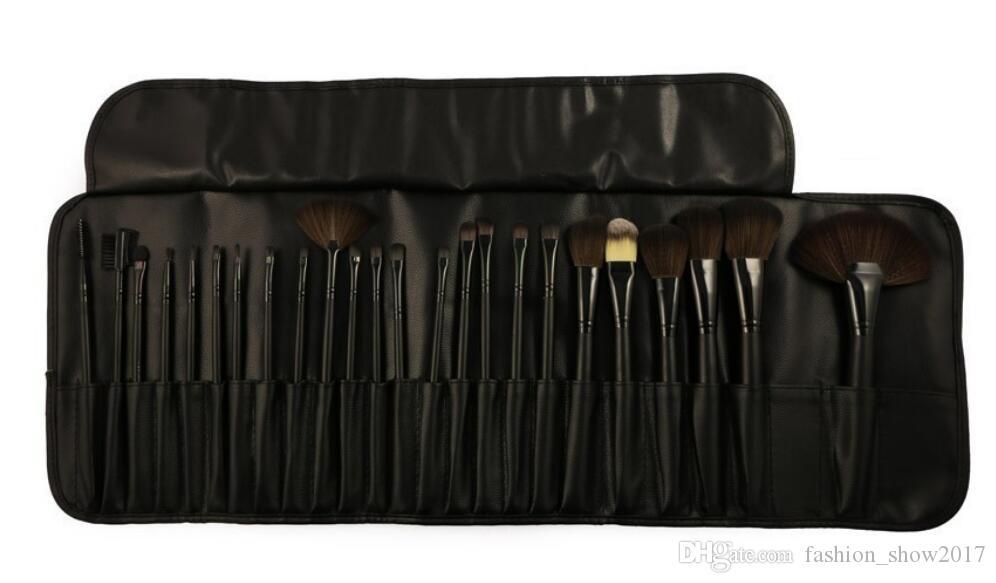 Spazzola cosmetica di caso della spazzola di trucco di marca di lana del corredo di articoli da toeletta di trucco del corredo di strumenti di trucco di 24 pezzi professionali Trasporto libero