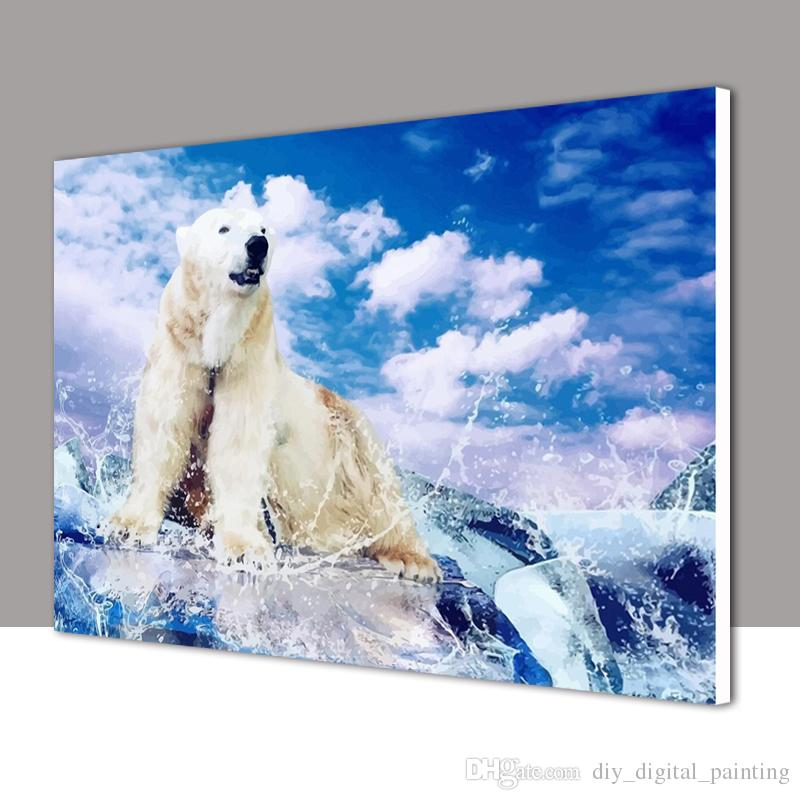 2018 Framed Diy Oil Painting By Numbers Snow Polar Bear Animal ...