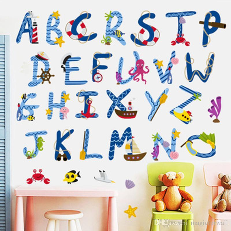 Cartoon English Letters From A to Z English Early Education Alphabet Wall Decals Kids Room Nursery Wall Mural Poster Self-adhesive Wallpaper