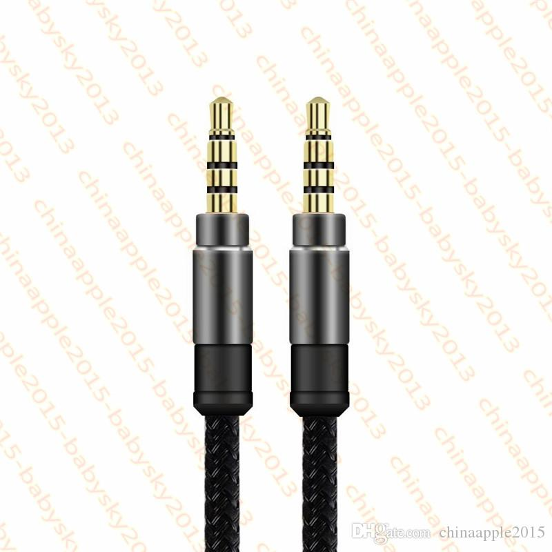 3.5mm Auxiliary AUX Extension Audio Cable Unbroken Metal Fabric Braiede Male Stereo cord 1.5M 3M for iphone Samsung MP3 Speaker Tablet PC