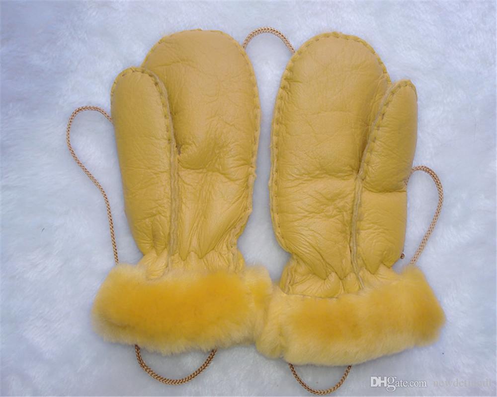 Ücretsiz Kargo-Yeni erkekler ve kadınlar çocuklar açık sıcak eldiven deri yün eldiven