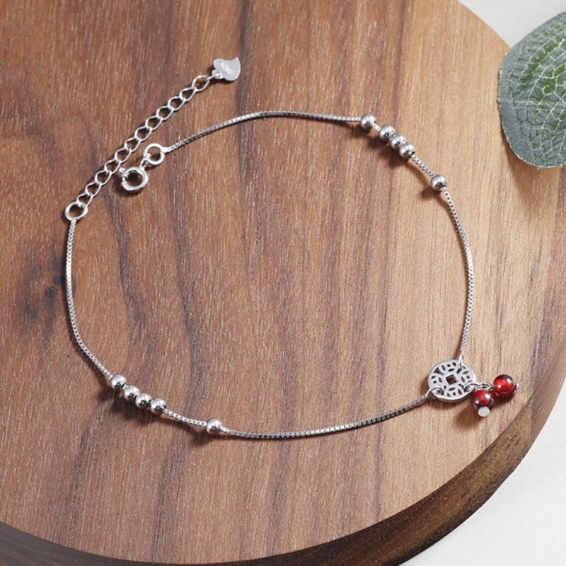 Red Trees Brand Summer Beach Foot Accessories Garnet 925 Sterling Silver Ankle Bracelet Jewelry For Women With Coin Statement Anklets Jewelry & Accessories