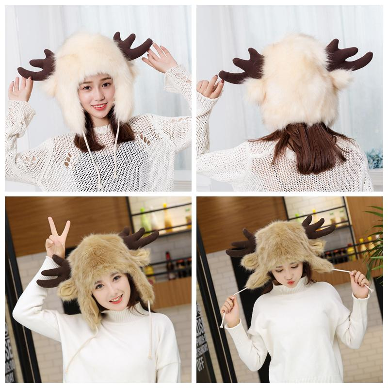 f002e340fda Winter Women Antler Faux Fur Lei Feng Hat Warm Earmuffs Thickening Cartoon  Fox Fur Plush Northeast Outdoor Animal Trapper Cap AAA1096 Winter Women  Antler ...