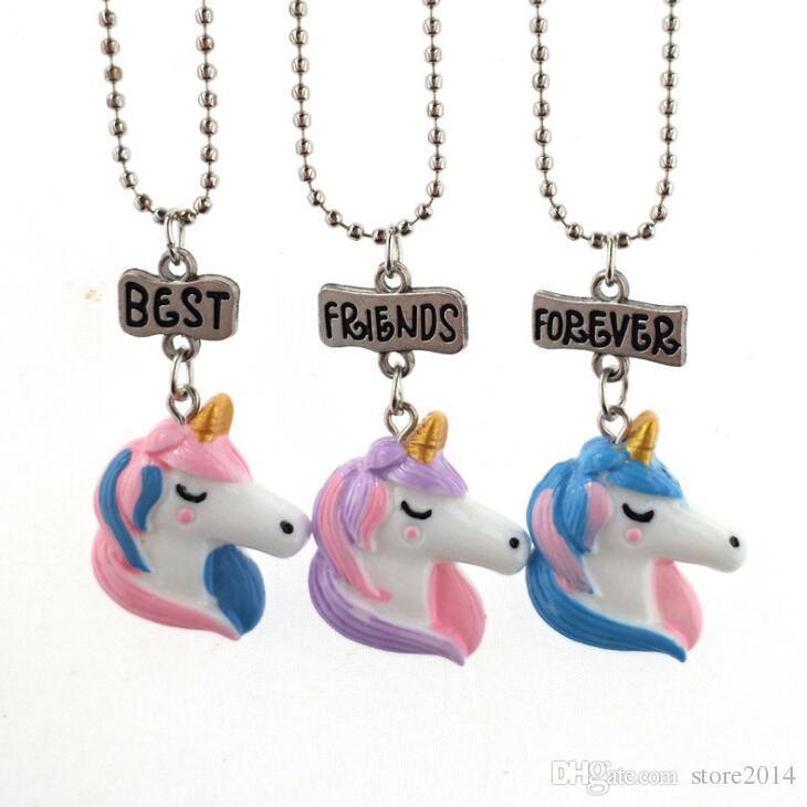 56251aba9b14 Compre Collar Nuevo Unicornio Mejores Amigos Para Siempre Collares  Pendientes Niños BFF Joyería Resina Collares Unicornios En Color 3D Chapado  En Oro Blanco ...