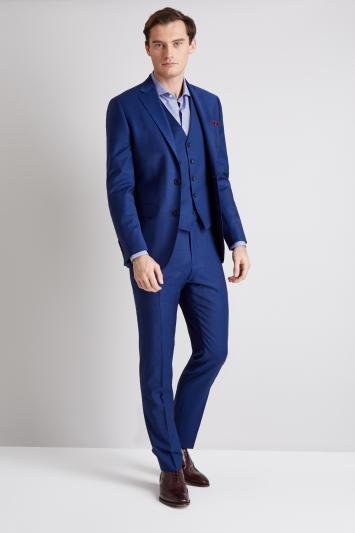 Compre Traje De Hombre De Color Azul Zafiro Para Corte Delgado Para Causal  Inteligente Casado 2c2be1ae102