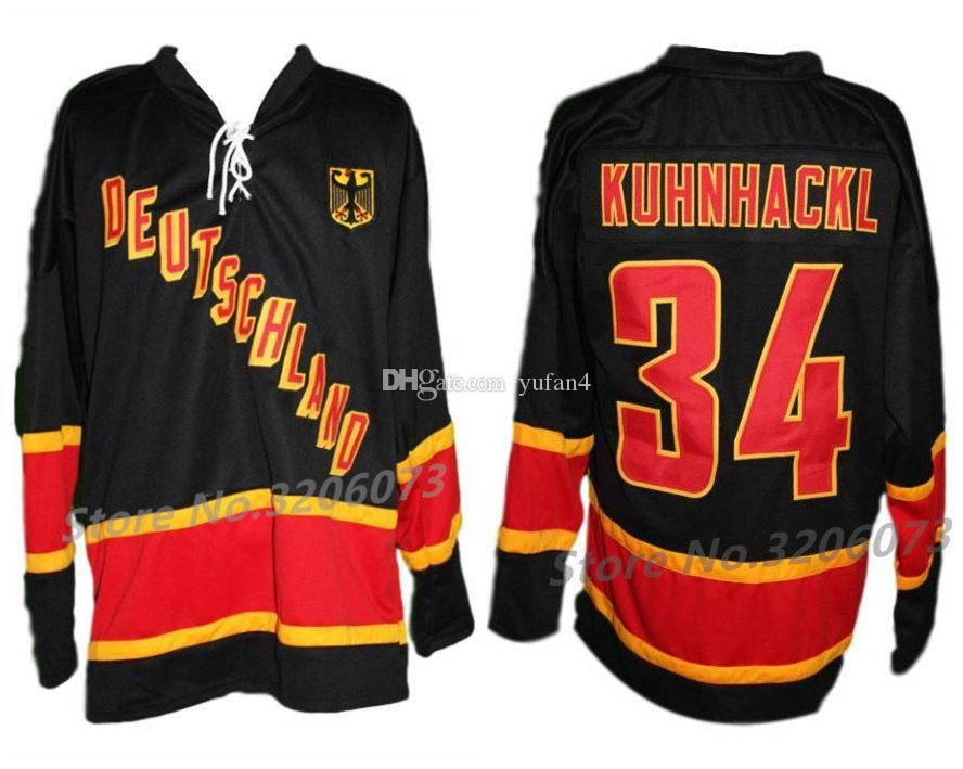 8f6ee767493 2019 Deutschland Team Germany  34 Tom Kuhnhackl Retro Ice Hockey Jersey  Mens Stitched Custom Any Number And Name Jerseys From Yufan4