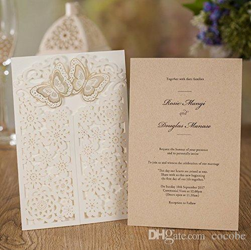 WISHAMDE Wedding Invitations Elegant 3D Butterfly Flower Laser Cut Invite Cards for Marriage Anniversary Bride Shower Birthday CW7085W