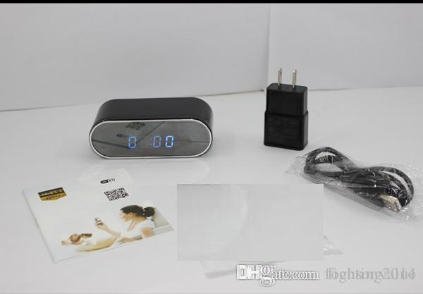1080P WiFi P2P Reloj de mesa Cámara IP Visión nocturna 160 grados Gran angular Reloj despertador digital DVR Vista en vivo Monitor remoto Cámara Nanny