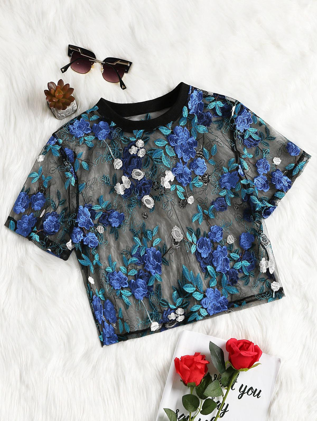 276e0b75cf204 2019 ZAFUL Embroidery Women Tops Sexy Floral Embroidered Mesh Top Short  Sleeve Crop Blouses Casual O Neck See Through Mesh Blouse Top From Hiem