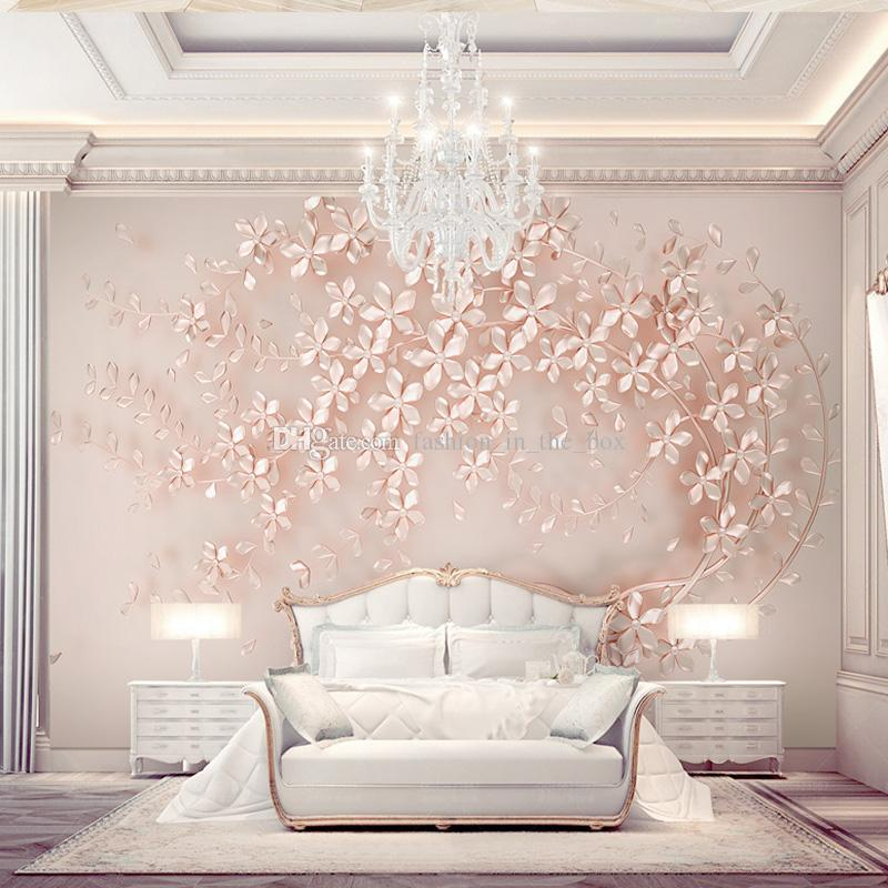 Girls Rose Gold Wallpaper: Custom 3D Wallpaper Luxury Wall Mural Rose Gold Flower