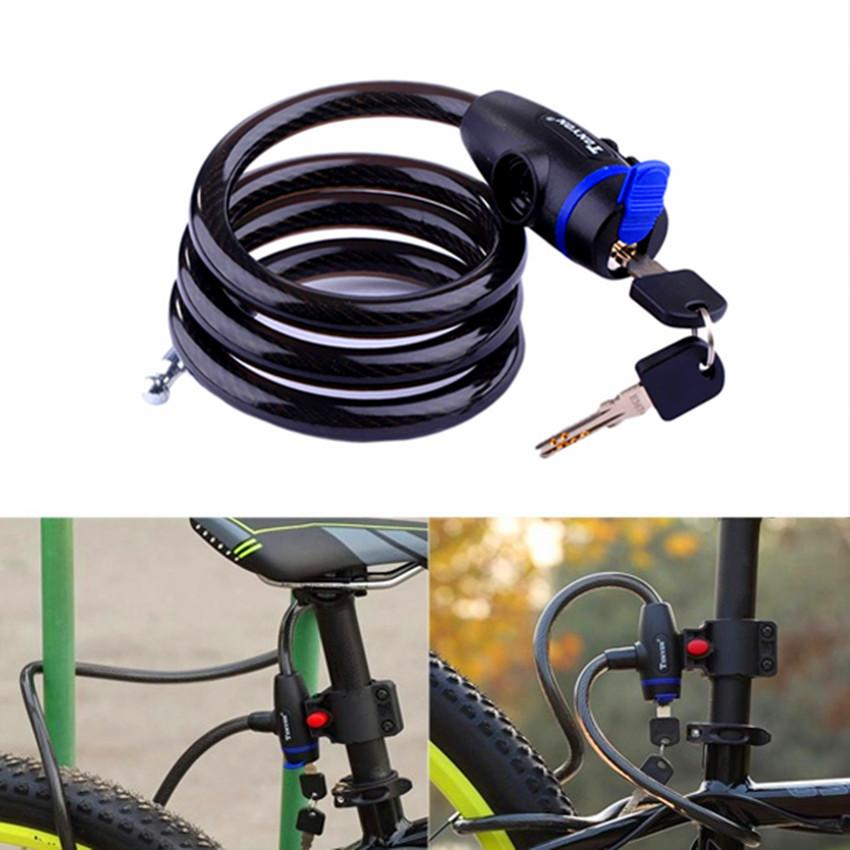 ff67af0a972a Universal Bicycle MTB Mountain Bike lock Anti-theft Ring Wire Rope Lock  Security Steel Spiral Cable Bicycle Safe