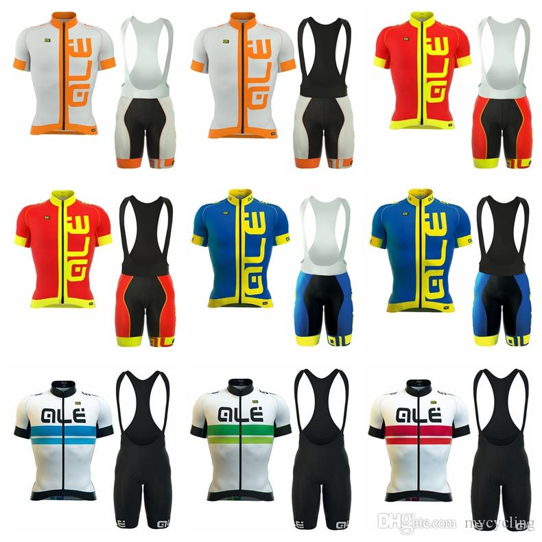 2018 Men Cycling Jersey Set ALE Bike Team Cycling Clothes Short Sleeve Full  Zipper GEL Breathable Pad Quick Dry Bike Clothing D2003 ALE Cycling Jersey  Set ... a066a0a36