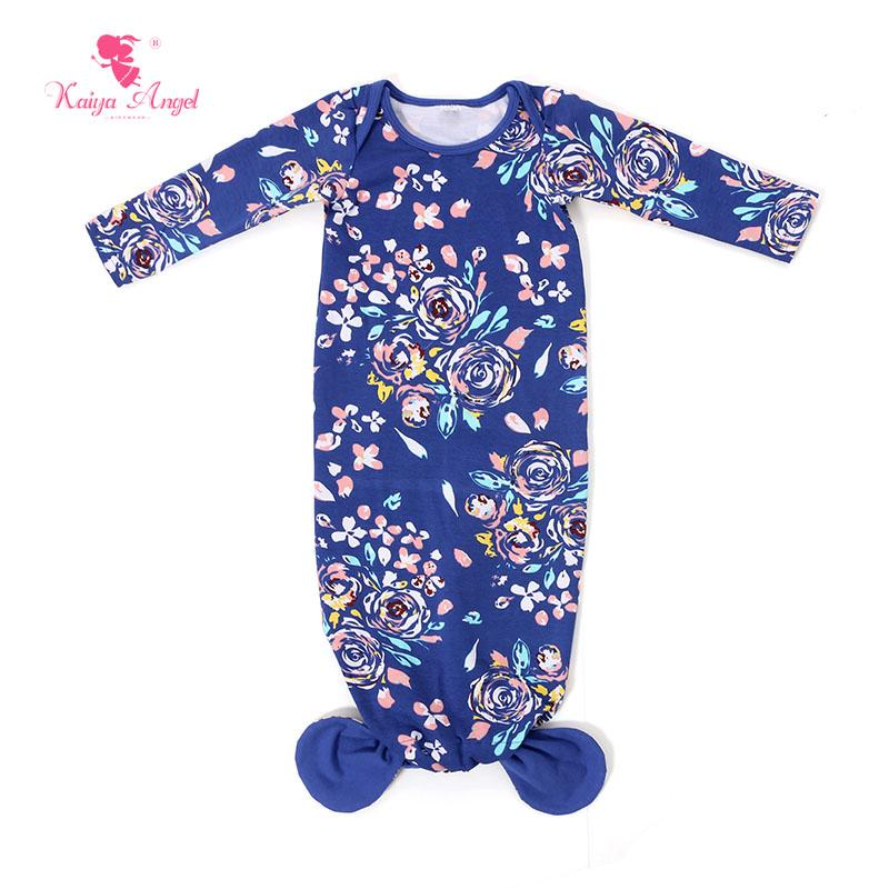 Mermaid Sleep Sack Royal Blue Floral Print Baby Gown 2017 Baby ...