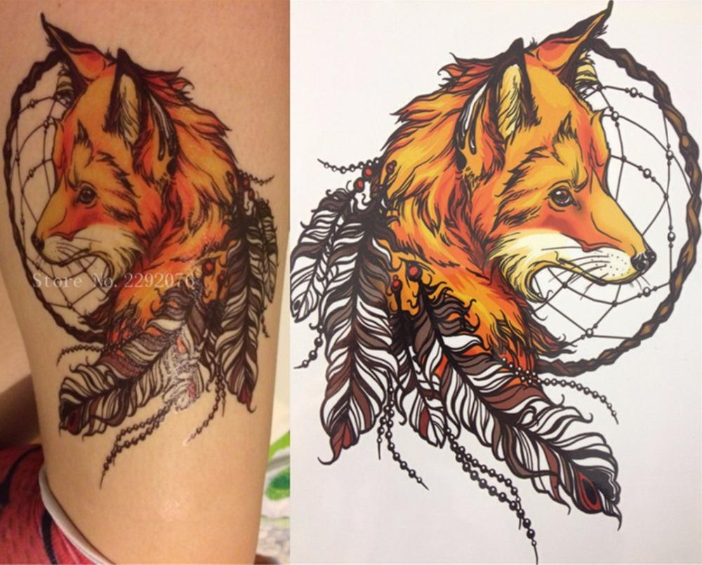 2016 21 X 15 Cm Yellow Fox And Feather Cool Beauty Tattoo Waterproof Cetak Foto Ukuran 24r Salon Hot Temporary Stickers Online With