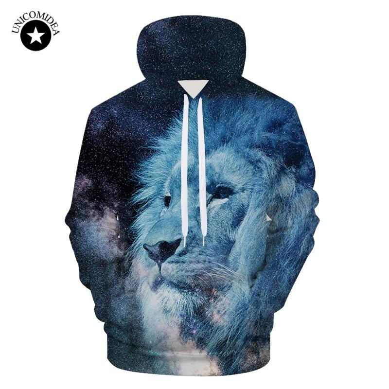 879cb6b07dd5d 2019 Autumn Plus Size Galaxy Space Lion Men S Hoodies 3d Print Animal  Sweatshirts Hoody Pullover Winter Outerwear Male Female Clothes From  Merrylady