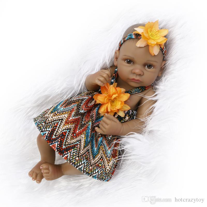 27cm African American Baby Doll 10.5 inch Black girl doll Full Silicone Body Bebe Reborn Baby Dolls children gifts kids toys play house toys
