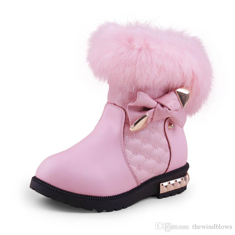 205f55b0af11 2018 New Princess Girls Boots Children Snow Boots For Girls Fur Cotton Winter  Snow Boots Fashion Warm Shoes 26 37  Girls Winter Boots Size 1 Baby Winter  ...