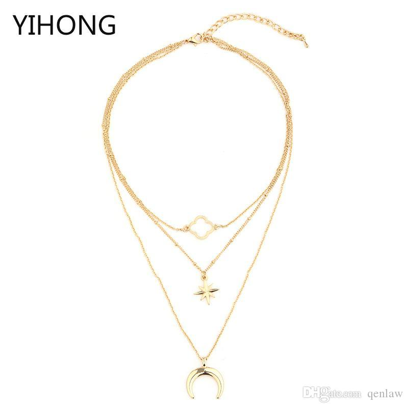 5cbc409a22db Moon Clover colgante de collar en capas de color oro aleación colgante de  cadena de múltiples capas Gargantilla larga para mujeres Bijoux