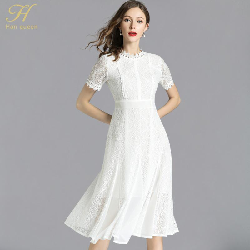 f5fb1df27078c H Han Queen 2018 Summer Women Chiffon stitching White Lace Dress Ladies  O-Neck Runway Vintage Female Slim Sexy Party Dresses