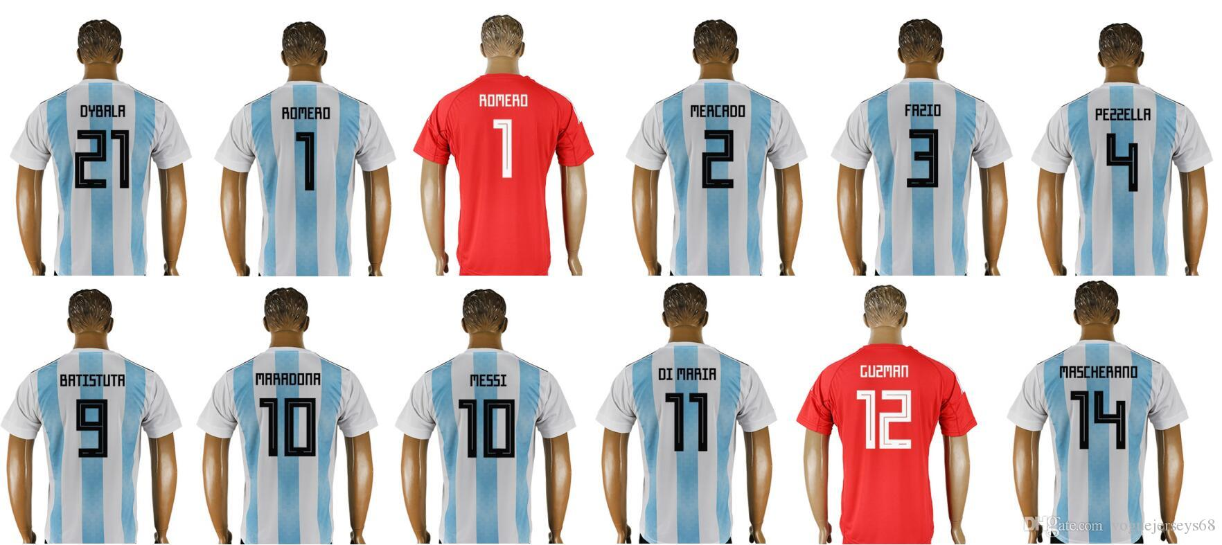 Mens 2018 Argentina Team   1 Sergio Romero Diego Maradona 9 Gabriel  Batistuta 10 Lionel Messi Uniformes Camisetas Deportes Fútbol Jerseys  Baratos Por ... 4c662805be02e