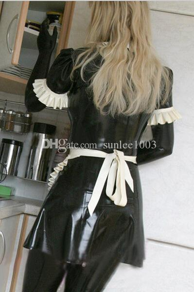 New exotic Sexy latex handmade Uniform Maid Costume Dress Mini Long Sleeve With Frills ,with no the pants,XS-XXL