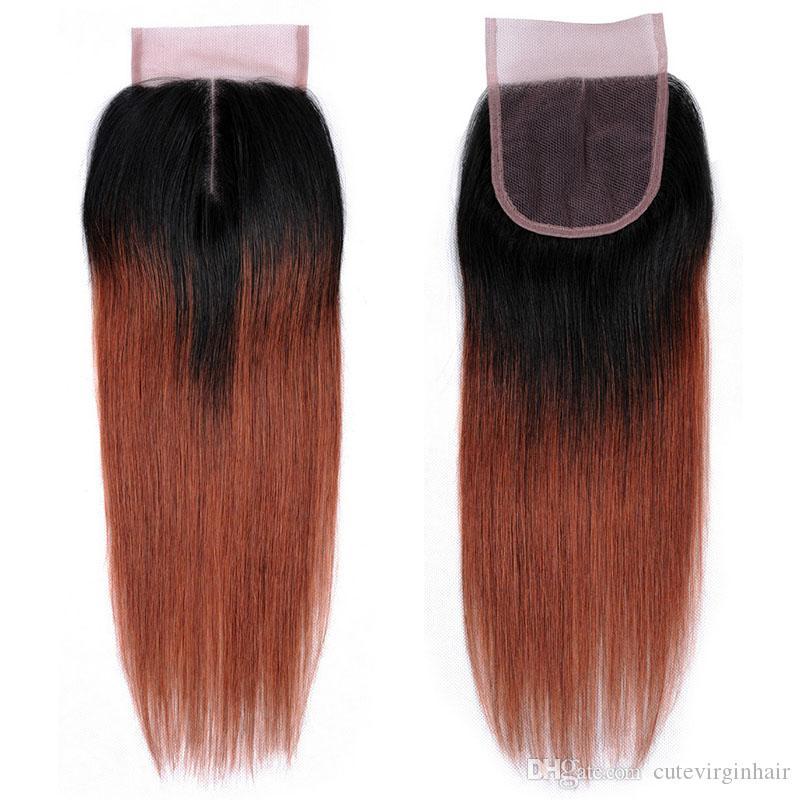 Ombre proveedores de cabello coloreado armadura de cabello humano partes medias 4x4 extensiones de encaje negro natural 1B / 27 1B / 30 1B / 33 1B / 99J