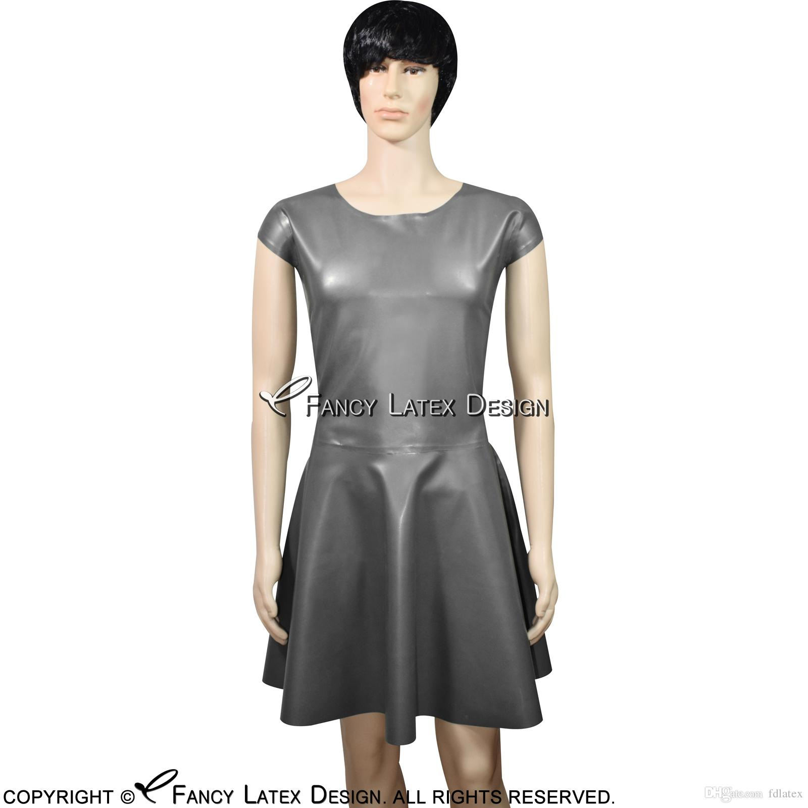 1c07705fd Metallic Pewter Sexy Latex Dress With Round Collar Short Sleeves Zipper At  Back Rubber Dress Bodycon Playsuit LYQ 0070 Lace Underwear Sets Red  Underwear ...