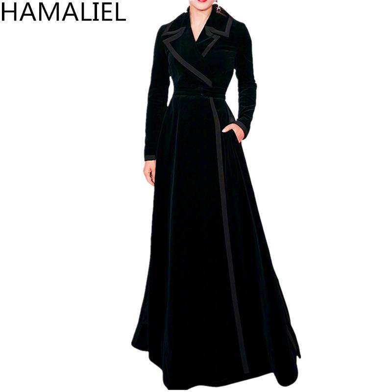 HAMALIEL Autunno Donna Trench Coat 2018 Designer Black Velvet XL Lungo Turn Down Collar Elegante Slim manica lunga Outwerwear
