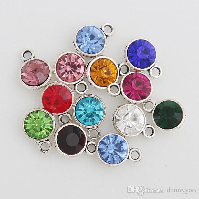 Comercio al por mayor Ronda de Mesh Month Birthstone Charms Joyería de Aleación Crystal Charms 9 * 12mm AAC733