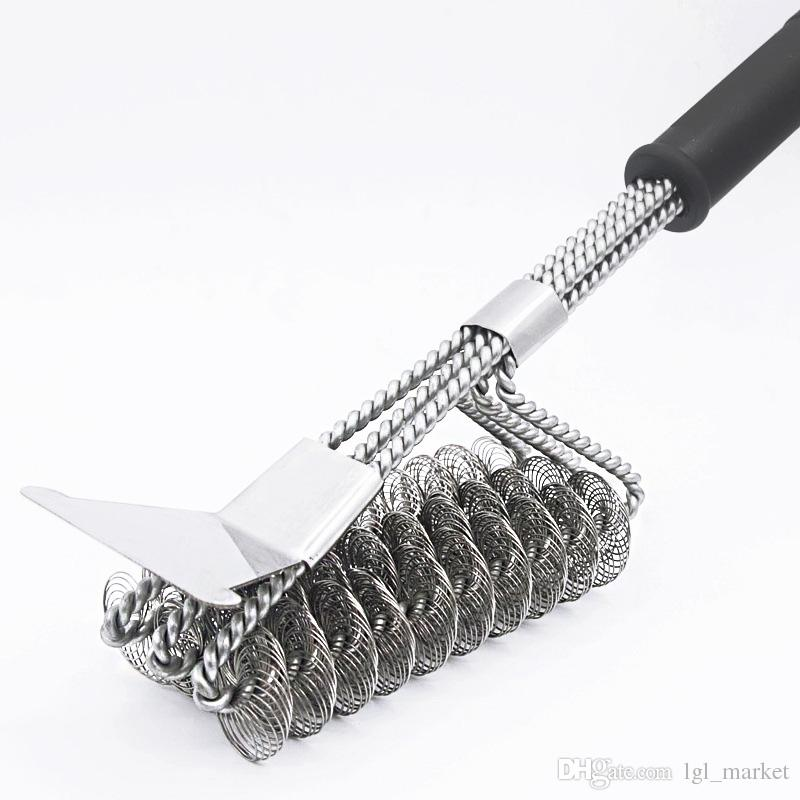 New Stainless steel Grill Brush BBQ Cleaning Brush with Scraper Barbecue Cleaner for Porcelain Propane Electric Infrared Gas Iron Grill