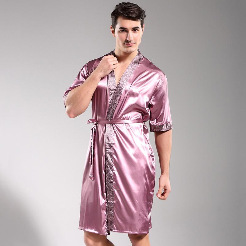 e98da85d0002 Hombres de lujo Robe Ropa de Dormir 2017 Pareja Albornoz Pijama Faux Seda  Túnica de Manga Corta Masculina Ropa de dormir 5 Colores ropa de dormir