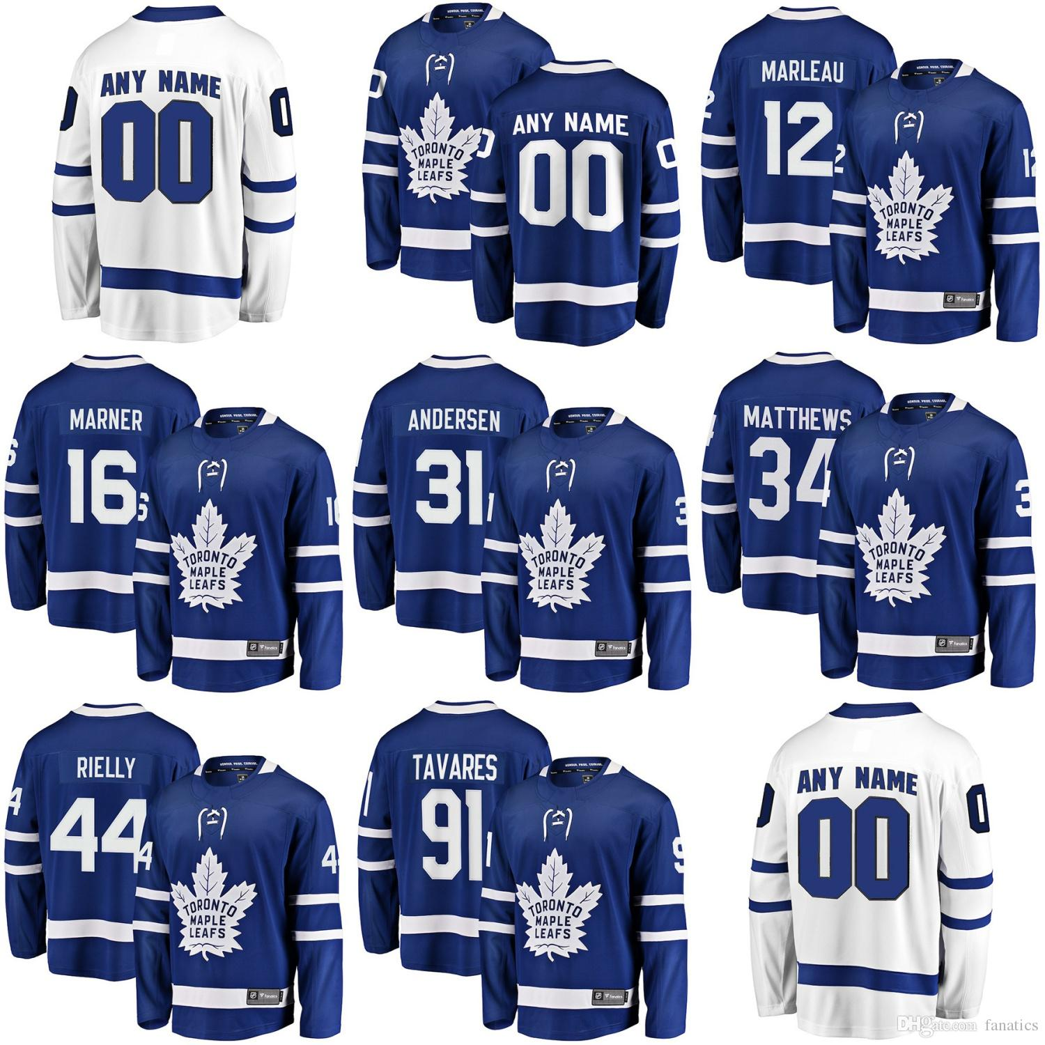 81a8c780845 Mens Womens Kids Youth Custom Blank Toronto Maple Leafs 34 Auston ...