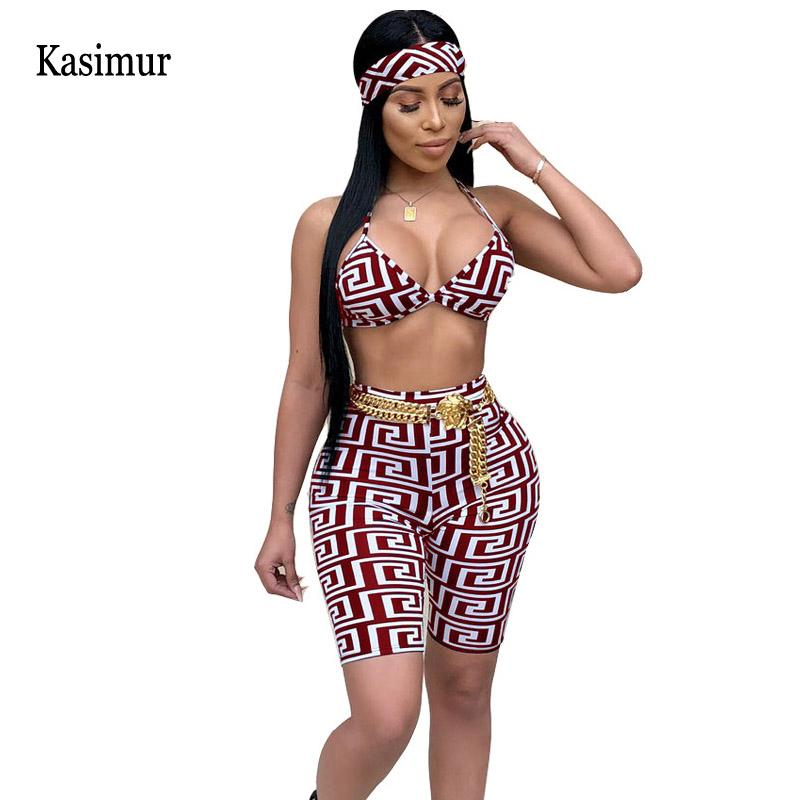 fe98e61263e Kasimur two piece set summer 2018 women 2 piece set top and pants sexy woman  clothes matching sets women's shorts to the knees