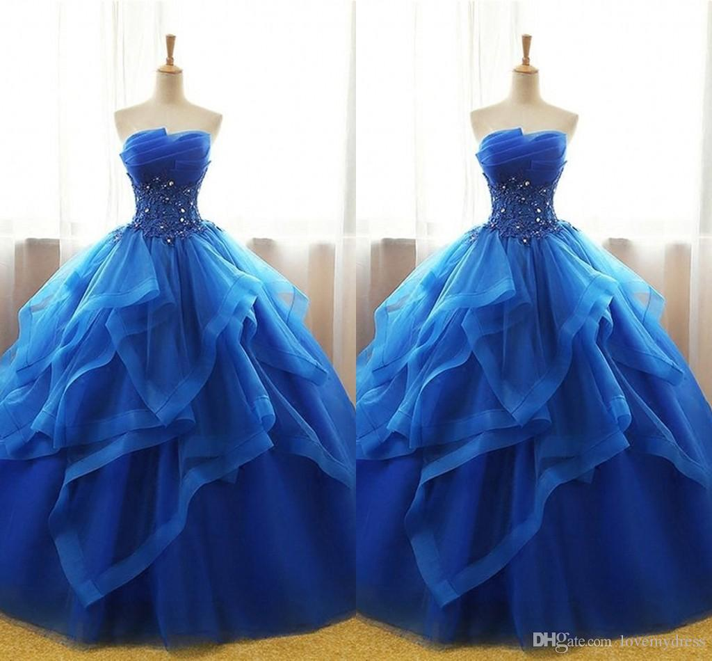 763f2584183 Ruffles Pleats Quinceanera Dresses Ball Gowns Applique Beaded Sequins  Strapless Lace Up Tulle Tiered Prom Dress Sweet 16 Dress Graduation  Quinceanera ...