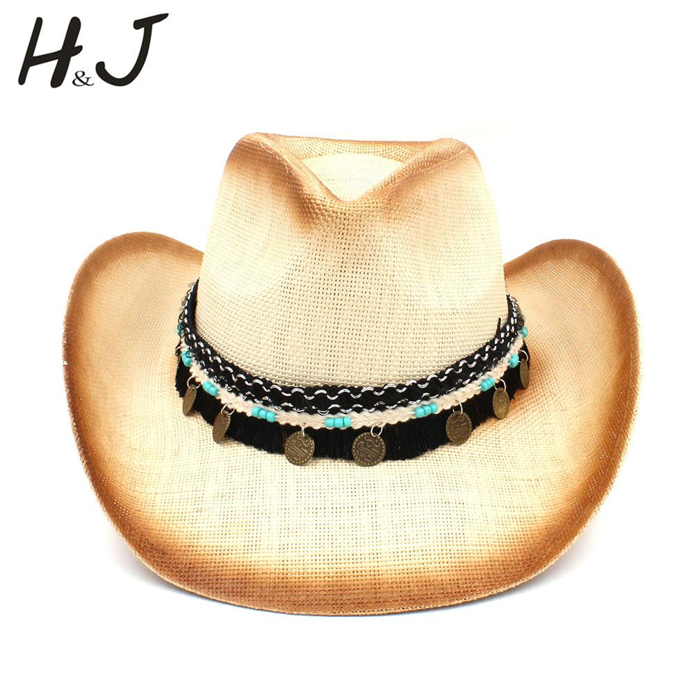 Women Men Straw Western Cowboy Hat With Western Band For Elegant Lady  Sombrero Hombre Cowgirl Jazz Caps Size 58CM Cowgirl Hats Fishing Hats From  Amoywatches ... a45d527b7b4