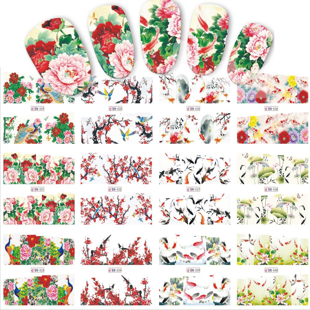 12 designssets nail sticker chinese new year theme pattern watermark tips nails decals full nail art tools bn529 540 nail rhinestones nail transfers from