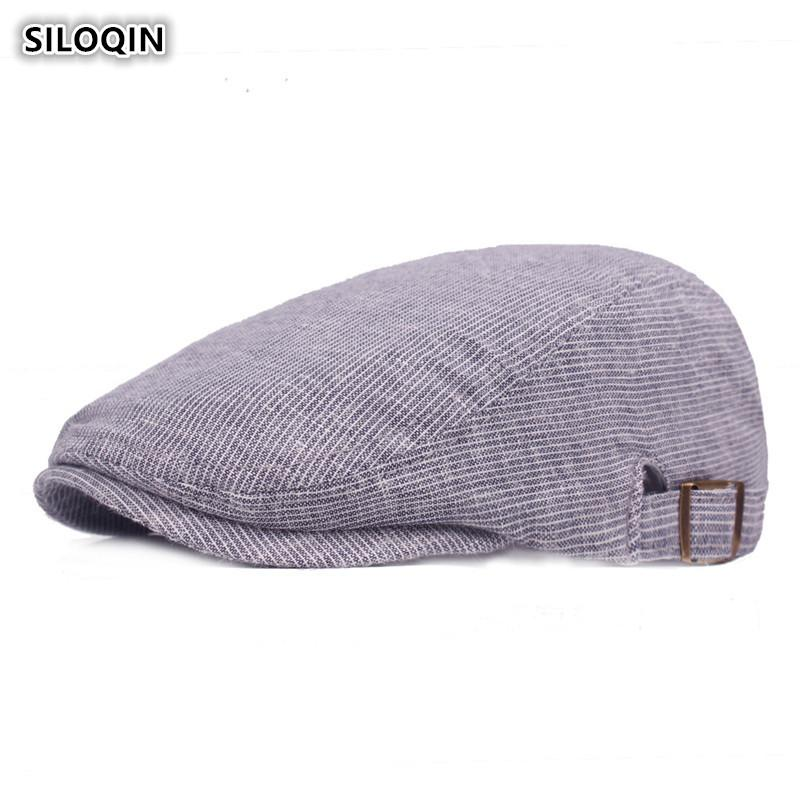 85f6bb6e6384e SILOQIN Men s Simple Retro Berets Adjustable Head Size Striped ...