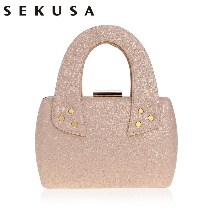 Sekusa New Arrival Small Women Handbags Chain Shoulder Ladies Purse Bag Day Clutch Sequined Party Evening Bag For Wedding
